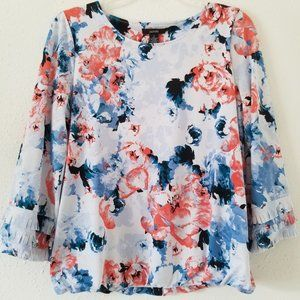 Alfani Floral Top with Three-Tier Fringe Sleeves